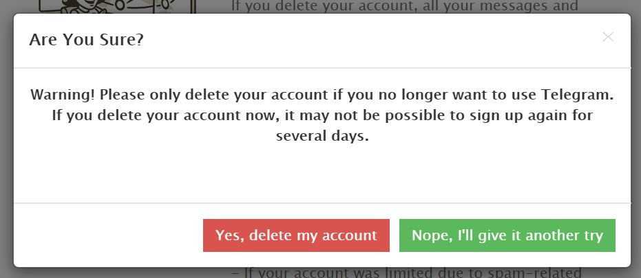 تایید حذف اکانت تلگرام