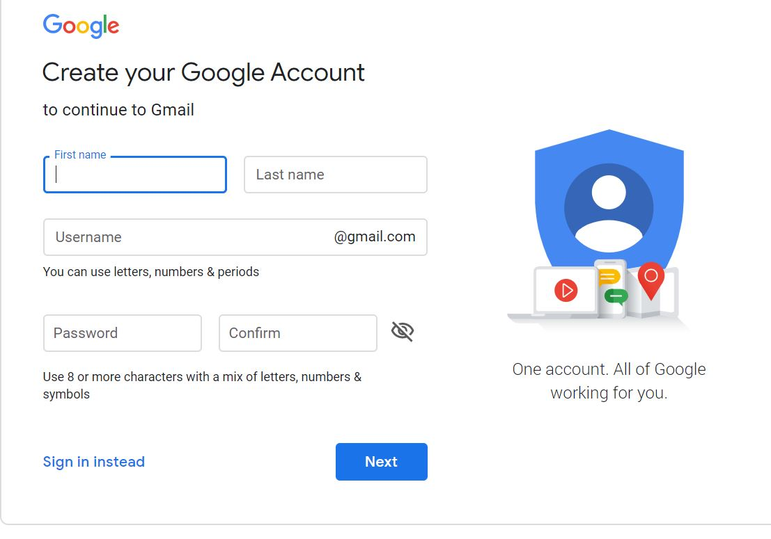 create google account- ساخت حساب کاربری جیمیل
