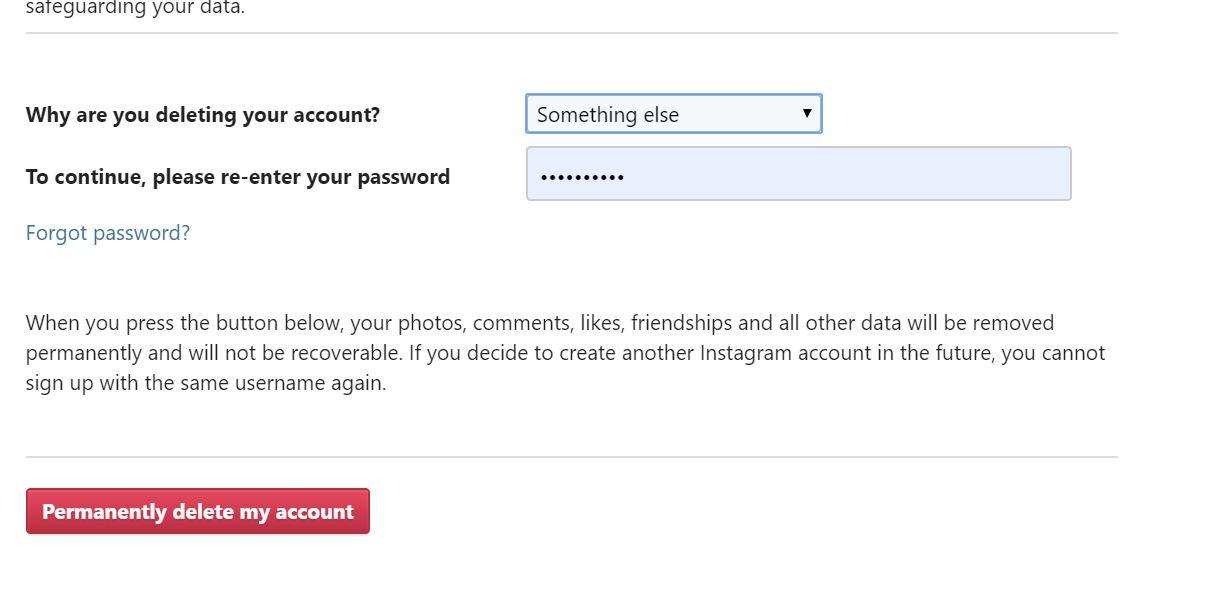 enter reason- حذف اکانت اینستاگرام