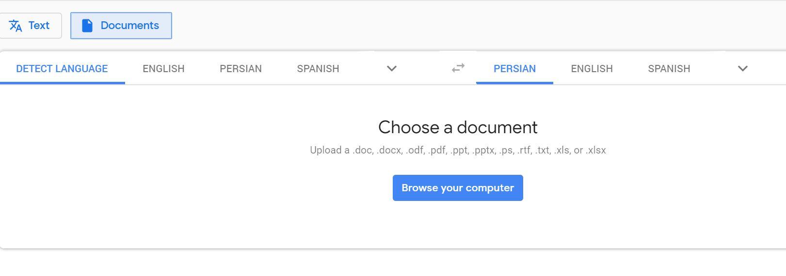 document translate- سند موردنظر برای ترجمه